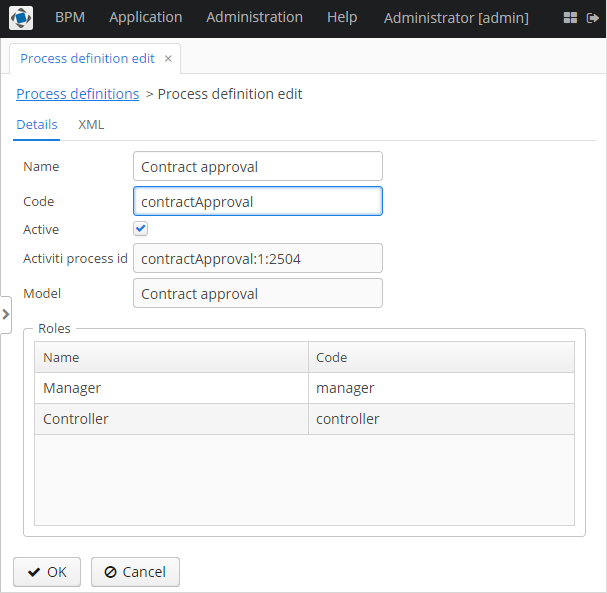 CUBA Platform  BPM subsystem